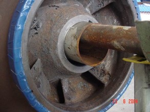 Corroded centrifugal pump impeller at a steel plant