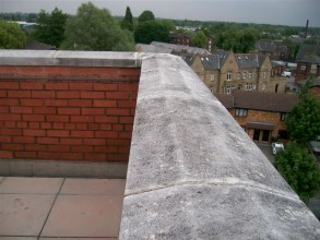 Gaps between coping stones allowing moisture into the wall and building below