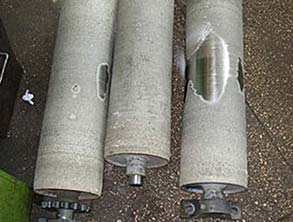 Loss of grip system on brake test rollers due to wear