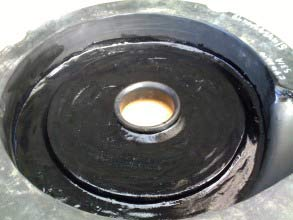 Rubber liner rebuilt with Belzona 2111 (D&A Hi-Build Elastomer)