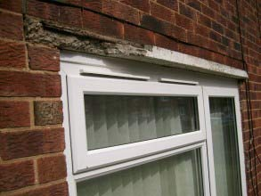 Damage to front lintel