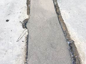 A conduit gap restored with Belzona 4154 and aggregate